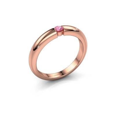 Foto van Verlovingsring Amelia 375 rosé goud roze saffier 3 mm