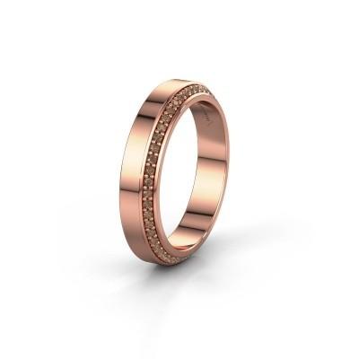 Trouwring WH2106L14C 375 rosé goud bruine diamant ±4x2.2 mm