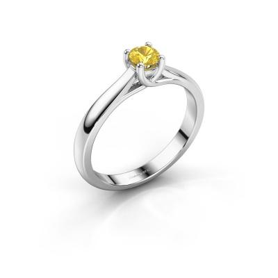 Bague de fiançailles Mia 1 585 or blanc saphir jaune 4 mm