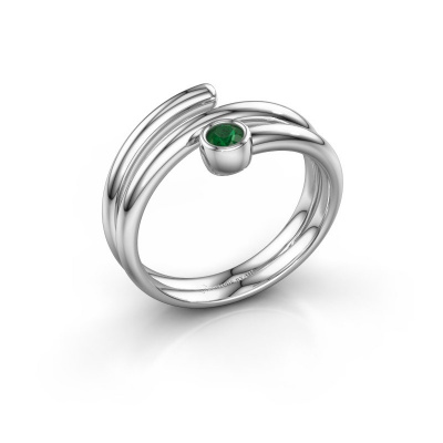 Ring Jenna 585 witgoud smaragd 3 mm