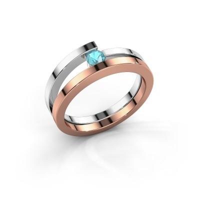 Ring Sandy 585 rosé goud blauw topaas 3.4 mm