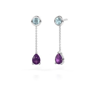 Picture of Drop earrings Laurie 3 950 platinum amethyst 7x5 mm