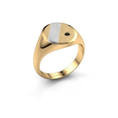 Foto van Zegelring Wesley 3 585 goud zwarte diamant 0.036 crt