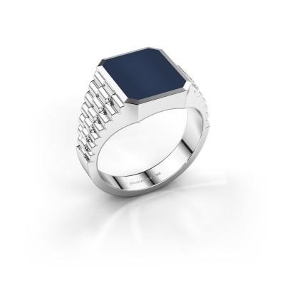 Foto van Rolex stijl ring Brent 2 585 witgoud donker blauw lagensteen 12x10 mm