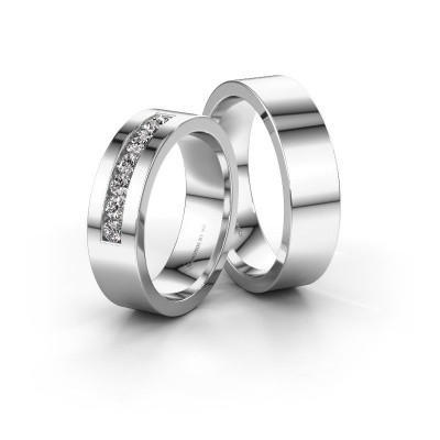Picture of Wedding rings set WH0108LM16BP ±6x2 mm 14 Carat white gold black diamond 0.014 crt