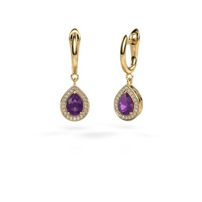 Picture of Drop earrings Ginger 1 585 gold amethyst 7x5 mm