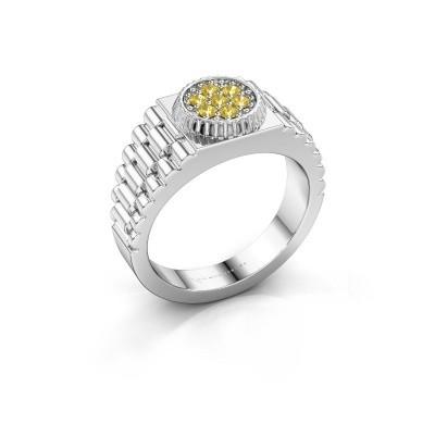 Foto van Heren ring Nout 950 platina gele saffier 2 mm