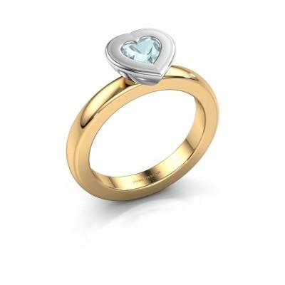Stapelring Eloise Heart 585 goud aquamarijn 5 mm