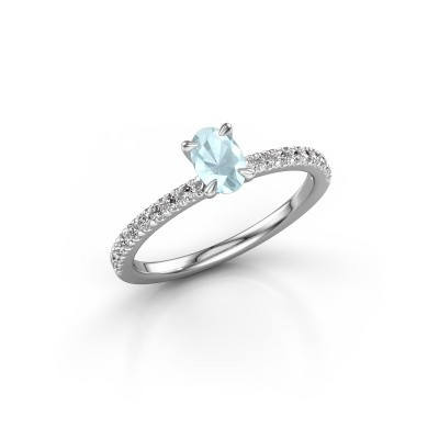 Picture of Engagement ring Crystal OVL 2 950 platinum aquamarine 6x4 mm