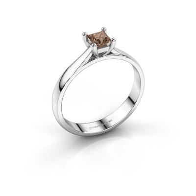 Engagement ring Sam Square 950 platinum brown diamond 0.40 crt