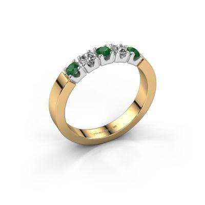 Verlovingsring Dana 5 585 goud smaragd 3 mm
