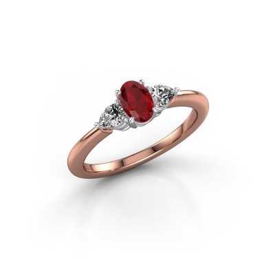 Foto van Verlovingsring Chanou OVL 585 rosé goud robijn 6x4 mm