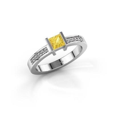 Engagement ring Jordan 925 silver yellow sapphire 4 mm