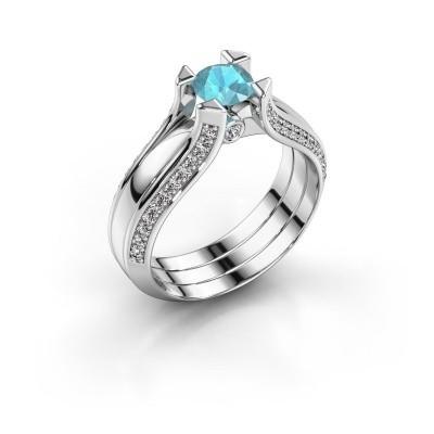 Verlovingsring Nadine 585 witgoud blauw topaas 5 mm
