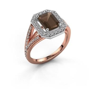 Promise ring Angelita EME 585 rosé goud rookkwarts 8x6 mm