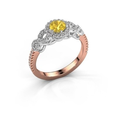 Verlovingsring Sasja 585 rosé goud gele saffier 5 mm