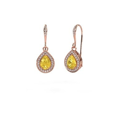 Drop earrings Beverlee 2 375 rose gold yellow sapphire 7x5 mm