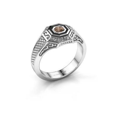 Men's ring Dion 375 white gold brown diamond 0.25 crt