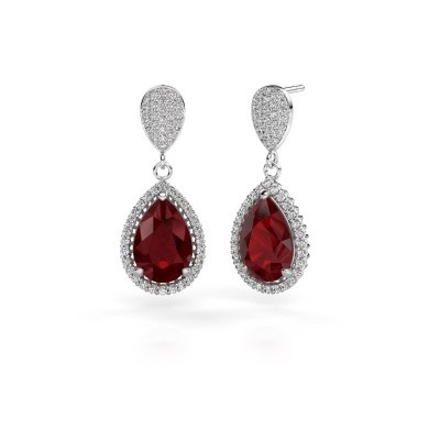 Picture of Drop earrings Cheree 2 585 white gold ruby 12x8 mm