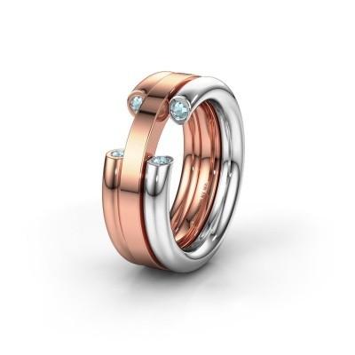 Wedding ring WH6018L 585 white gold aquamarine ±8x3 mm
