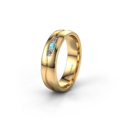 Wedding ring WH0172L25A 375 gold blue topaz ±5x1.7 mm