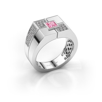 Foto van Heren ring Rogier 375 witgoud roze saffier 4 mm