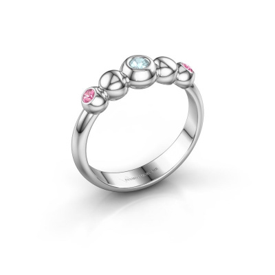 Stackable ring Lily 925 silver aquamarine 2.5 mm