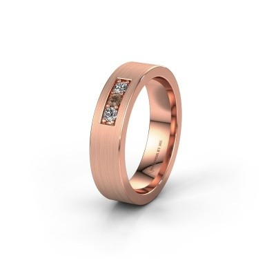Wedding ring WH0110L15BM 375 rose gold brown diamond ±5x2 mm