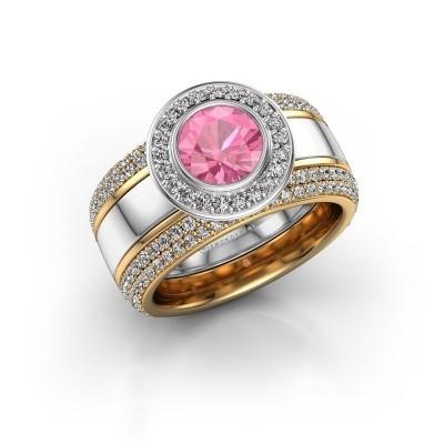 Foto van Ring Roxie 585 witgoud roze saffier 6.5 mm