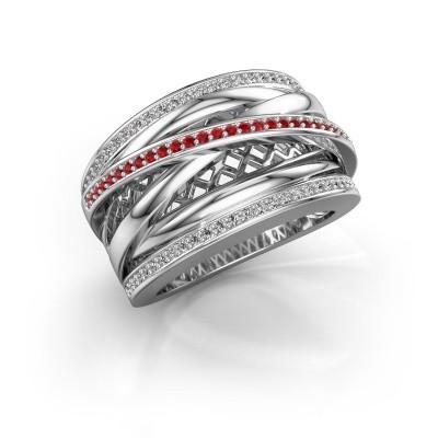 Ring Tabita 950 platina robijn 1 mm