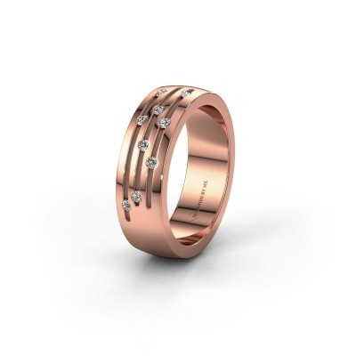 Ehering WH0134L26B 375 Roségold Lab-grown Diamant ±6x2 mm