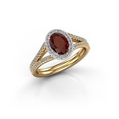 Engagement ring Rachele 2 585 gold garnet 7x5 mm