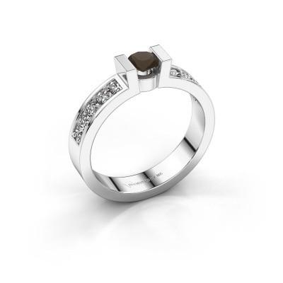 Verlovingsring Lieve 2 925 zilver rookkwarts 4 mm