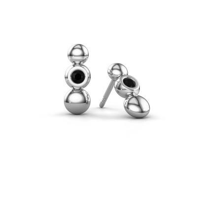 Foto van Oorbellen Lily 925 zilver zwarte diamant 0.144 crt