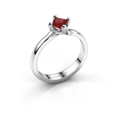 Engagement ring Dewi Square 585 white gold ruby 4 mm