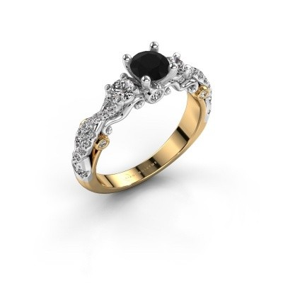 Foto van Verlovingsring Kourtney 585 goud zwarte diamant 1.156 crt