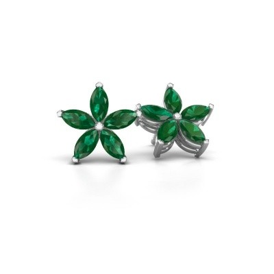 Picture of Stud earrings Sylvana 925 silver emerald 5x2.5 mm