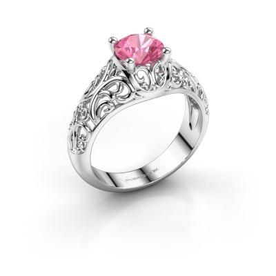 Ring Mirte 925 zilver roze saffier 6.5 mm