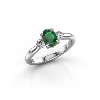 Foto van Verlovingsring Lieselot OVL 585 witgoud smaragd 6.5x4.5 mm