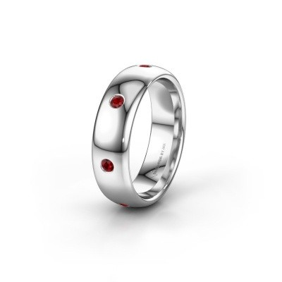 Wedding ring WH0105L36BP 585 white gold ruby ±0.24x0.08 in