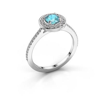 Ring Agaat 2 950 platinum blue topaz 5 mm