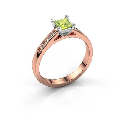 Engagement ring Nynke SQR 585 rose gold peridot 4 mm