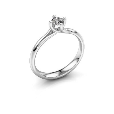 Engagement ring Dewi Round 925 silver zirconia 4 mm