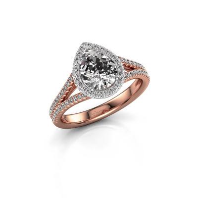 Foto van Verlovingsring Verla pear 2 585 rosé goud diamant 1.337 crt
