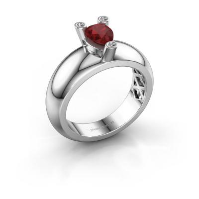 Ring Cornelia Pear 925 silver ruby 7x5 mm