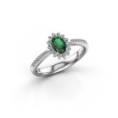 Picture of Engagement ring Tilly ovl 2 585 white gold emerald 6x4 mm