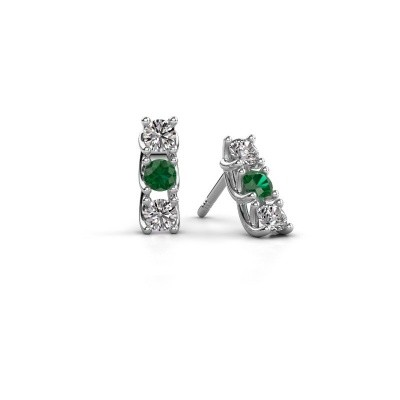 Picture of Earrings Fenna 925 silver emerald 3 mm