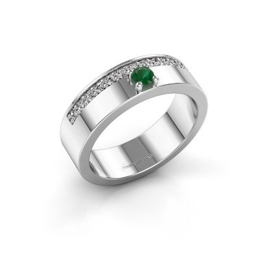 Ring Vicki 585 witgoud smaragd 3 mm