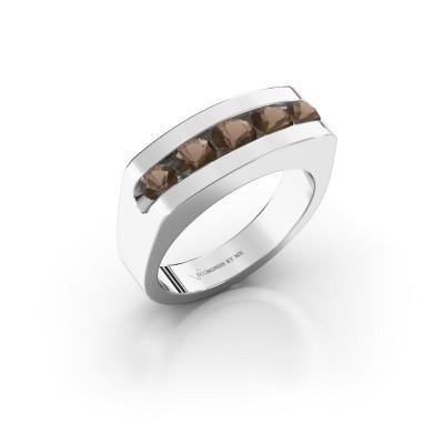 Foto van Heren ring Richard 950 platina rookkwarts 4 mm