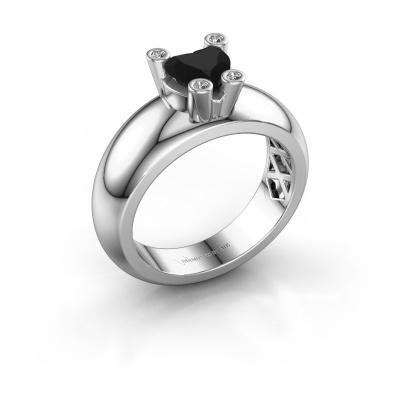 Ring Cornelia Heart 925 silver black diamond 1.05 crt